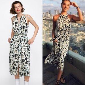 NEW Zara Bloggers Leopard Halter Midi Dress